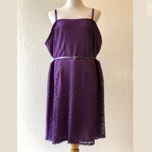 NWOT Laser Cut Overlay Belted Cami Dress 28 4X